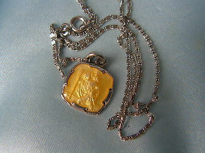 B'ful Vintge 1940's/50's Sterling Silver Yellow Enamel St. Christopher Necklace
