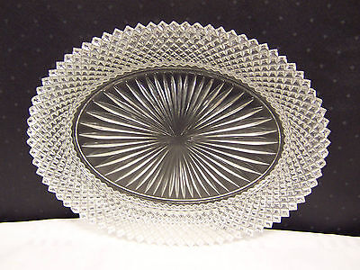 """LARGE GLASS PLATTER 9.25"""" x 12"""" MISS AMERICA PATTERN HOCKING CLEAR"""