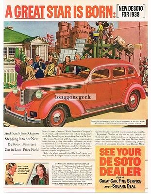 1937 De Soto Orange Sedan On The Movie Set art Vtg Print Ad