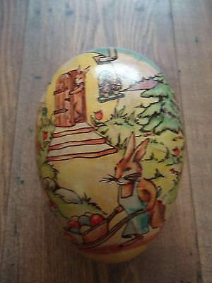 Cute Vintage EASTER BUNNY Paper Mache Easter Egg Box With Lace