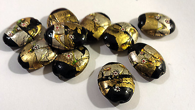 6 BLACK WITH GOLD & SILVER FOIL LAMPWORK GLASS BEADS-25mm x 20mm