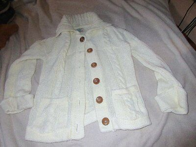 Vintage.70's. Cable Knit Acrylic Cardigan sweater.Womens Small Wood Buttons