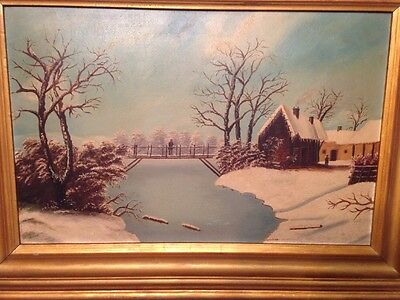 Antique New England New York Folk Art  Winter Scene Painting Lake Mountain cabin
