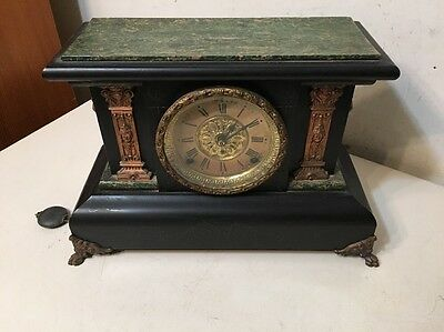 Antique Seth Thomas Adamantine Mantle Clock Egyptian Revival