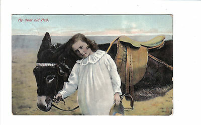 Vintage Postcard.Child with Donkey.Posted 1910