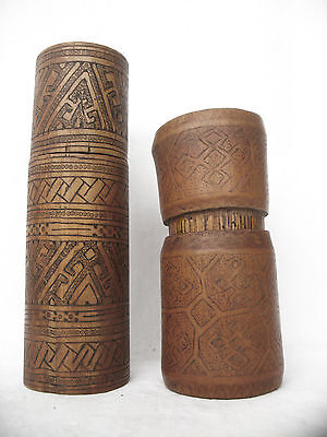 2pc BAMBOO TIMOR TRIBAL BETELNUT CONTAINER - ARTIFACT - late 20th C.,,,,.