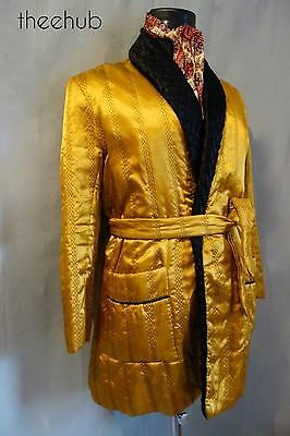 Suave & 1960s Stylish Vintage Golden Satin Quilted Belted Smoking Lounge Jacket