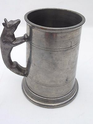 Fabulous  Vintage Pewter Tankard With Fox Design Handle