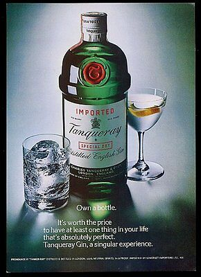 1981 Tanqueray Gin photo' Own A Bottle' vintage print ad