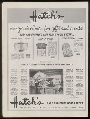 1969 Hatch's gift & greeting card store photo vintage print ad