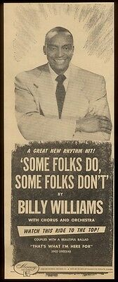 1952 Billy Williams photo Some Folks Do Some Folks Don't   music trade ad