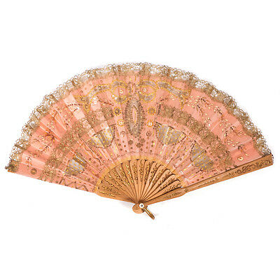 """Antique Victorian Lace Sequined Detailed Pink Hand Fan 14"""" x 7.75"""""""