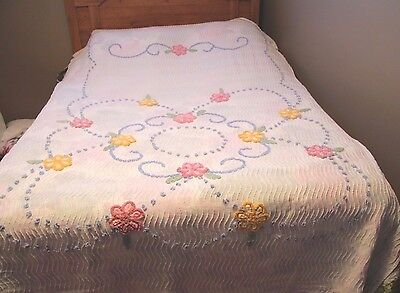 Vintage Chenille Bedspread Twin Beautiful Floral Flowers Pastel Mid Century 60's