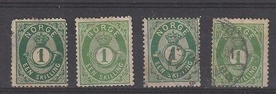 Norway 1871 - 1875 1sk Green Posthorn x 4 shades