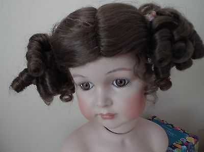 Brown Dolls Wig With Curly Bunches  Fits 7.5 Inch  Dolls Head