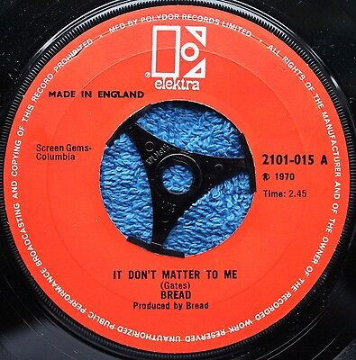 """Bread  It Don't Matter To Me Classic Rock 1970s EX+ 7 """" INCH 45RPM"""