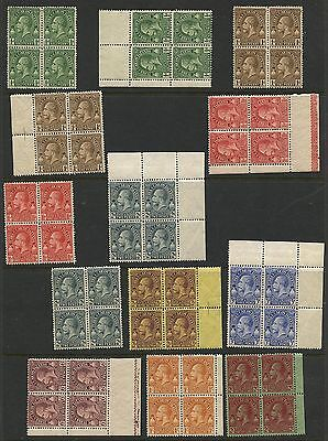Turks & Caicos 1928 KGV issue in blocks of 4 Sc #60 - 68 mlh