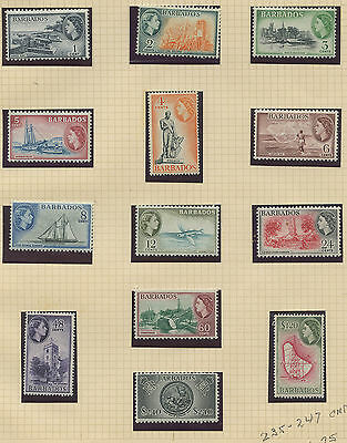Barbados 1953 QEII issue complete Sc #235-247 MNH