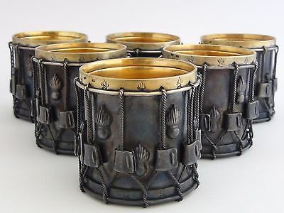 Rare RUSSIAN 925 Sterling Silver Infantry Side Drum Vodka Cups Shot Glass Set 6