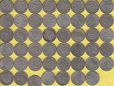 Germany Empire  10 Pfennig  KM 1  lot of 47 coins  large eagle................69