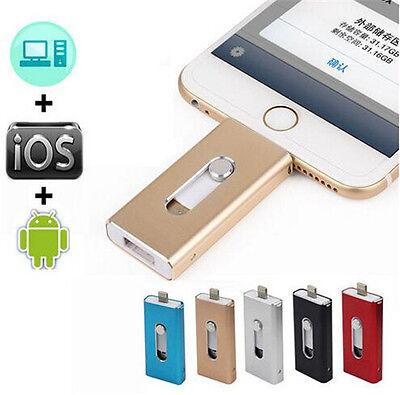 256GB OTG Dual USB 3in1 Memory i Flash Drive U Disk For IOS iPhone iPad/PC