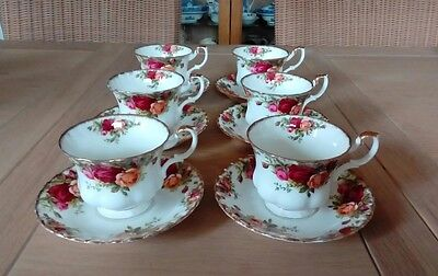 Royal Albert Old Country Roses Tea Cups And Saucers X 6