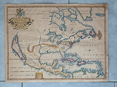Rare Edward Wells A NEW MAP OF NORTH AMERICA SHEWING.. Hand Colored c1700 Oxford