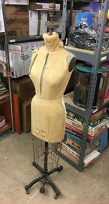 Vintage 1964 Superior Model Wolf Collapsible Dress Form 8 Original Cage Stand
