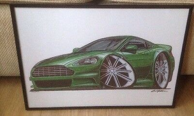 Green Aston Martin DB7 Striking Quality Framed Print Caricature BN