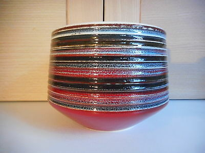 Poole Pottery Delphis Red & Brown Striped Bowl Shape 92 Patricia Wells