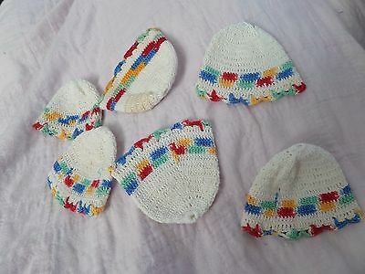 6 Vintage Hand Crocheted Egg cup covers or jar covers