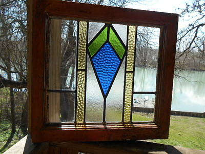 Antique English Stained Glass Window * Orig. Wood Frame * Awesome Cobalt Blue