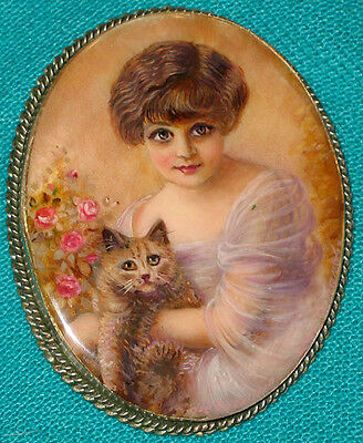"""WONDERFUL! """"Girl With A Cat"""" Russian Hand Painted Mother-Of-Pearl BROOCH/PIN"""