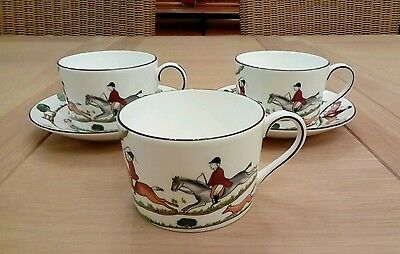 "Wedgwood ""hunting Scenes"" Accent Imperial Cups X 3 And Saucers X 2"