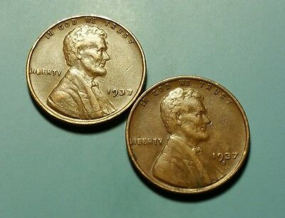 1937 P S Lincoln Wheat Penny 2 Coin Set #w5395