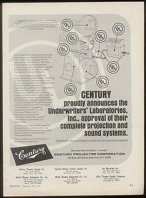 1974 Century movie theatre projector trade print ad