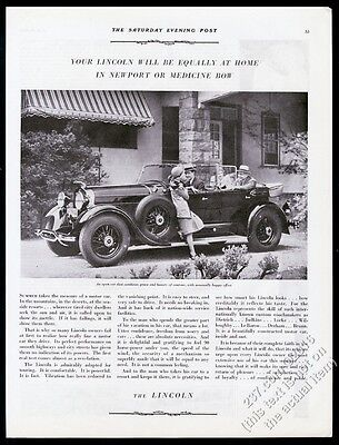 1929 Lincoln dual cowl open touring car photo vintage print ad