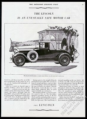 1929 Lincoln Locke Club Roadster car illustrated vintage print ad