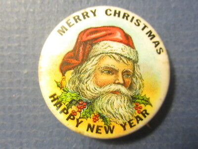 Old Antique - SANTA CLAUS PIN / Button - Merry Christmans - Happy New Year
