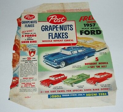 1957 Post Cereal Box Back with F&F Ford car & Siren Premium Ring offer