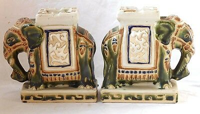 C20Th Pair Of Chinese Elephant Book Ends