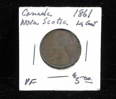 Vintage 1861 Canada Nova Scotia Large Cent One Cent