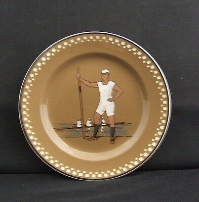 Vintage Villeroy and Boch Earthenware Small Boat Rowing Plate Circa 1880-1900