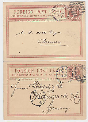 2x GB QV 1¼d FOREIGN POST CARDS LONDON 33/34- BAVARIA/GERMANY 1876/77