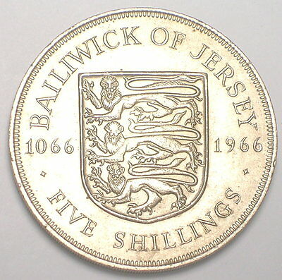 1966 Jersey 5 Shillings Queen Elizabeth II Lions Shield Coin XF