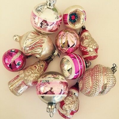 11 Vintage Pink Christmas Mercury Glass Ornaments Poland Germany Shabby Chic Lot