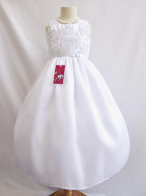 Lovely white communion wedding flower girl party dress choose size 2 4 6 8 10 12