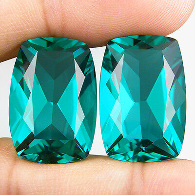 35.44 CT. MATCHING PAIR CUSHION GREEN BLUE PARAIBA NANO APATITE 20.9 x 14.1 MM