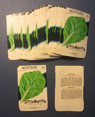 Wholesale Lot of 100 Old Vintage MUSTARD Chinese Smooth Leaf SEED PACKETS -EMPTY