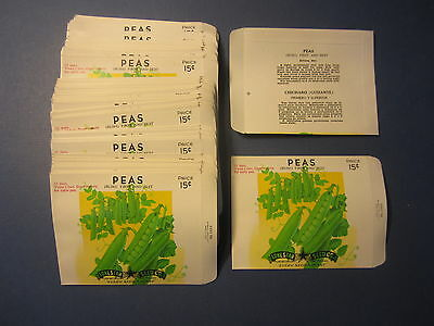 Wholesale Lot of 100 Old Vintage Bush PEAS SEED PACKETS Lone Star Seed - EMPTY
